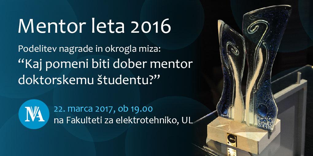 Slavnostna podelitev nagrade Mentor leta 2016