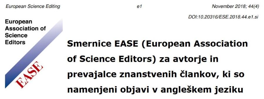 Slovenski prevod smernic EASE