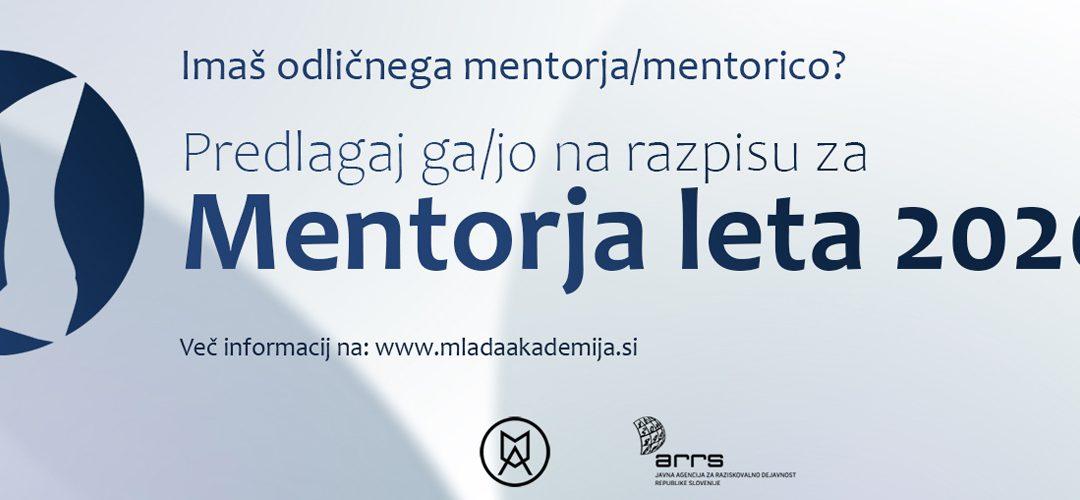 Mentor leta 2020 – klic za vloge podaljšan