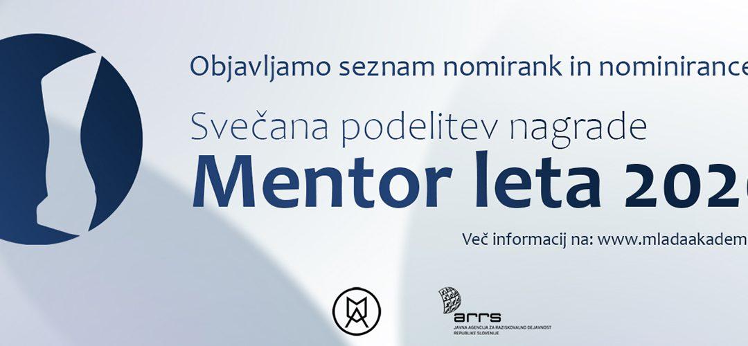 Slavnostna podelitev nagrade Mentor leta 2020 – nominiranke in nominiranci